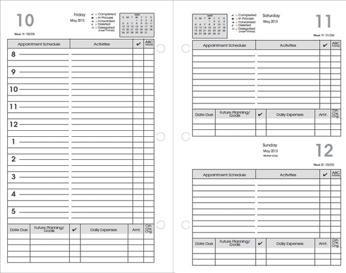 Preference Collection Planner Refills 2016 Sun Graphix Organizer – Daily Agenda